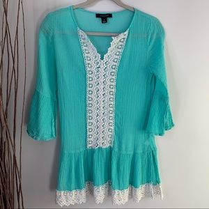 Atmosphere Crinkle Flare Sleeve Tunic Blouse Small